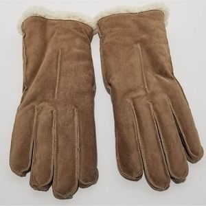 Suede and Sherpa Lined Tan Winter Gloves